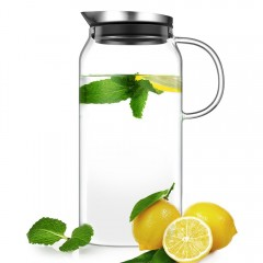 Ecooe 44 oz Glass Water Pitcher with Built-In Filter Lid