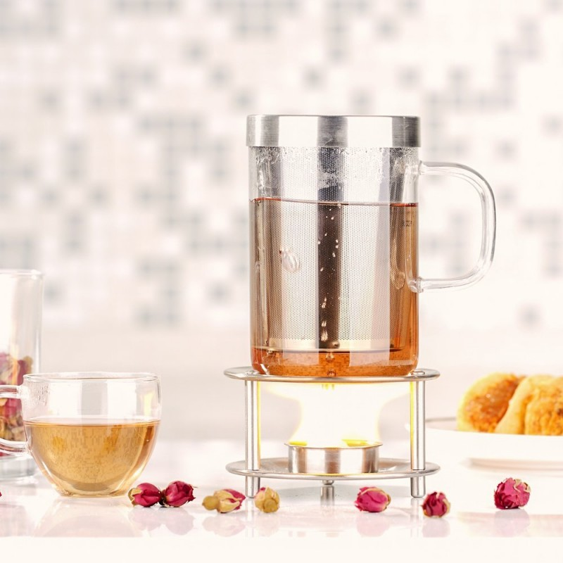 Ecooe 450ml Borosilicate Glass Tea Infuser Cup With Lid