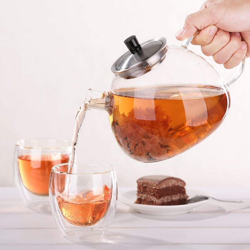 Ecooe Stovetop Glass Teapot With Removable Stainless Steel