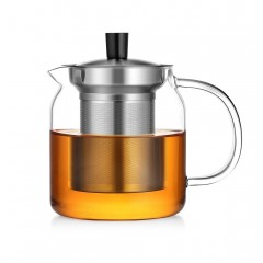 Ecooe 700ml / 24 oz Stovetop Glass Teapot with Filters