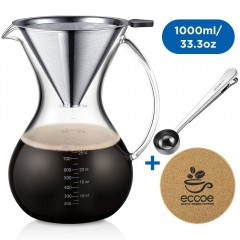 Ecooe 1000ml / 33.3 oz Pour Over Coffee Carafe