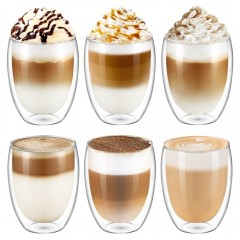Ecooe 350ml Double Wall Glass Cups Set of 6