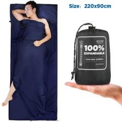Erweiterbar 2in1 Hüttenschlafsack mit Zwei-Wege Reißverschluss Mikrofaser Schlafsack