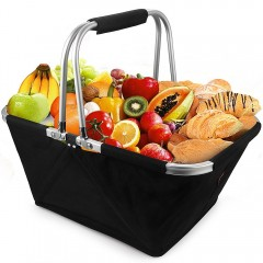 Shopping Basket Foldable Large Black Made of Durable Aluminum Alloy