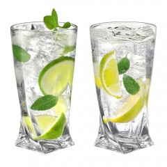 Ecooe 330ml (Full capacity) Crystal Highball Glasses for Cocktail, Juice, Beer and More, Water Glasses Set of 2