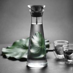 Glastal 1L Glaskaraffe Glaskrug aus Borosilikatglas Wasserkrug mit Edelstahl Deckel Karaffe Glaskanne
