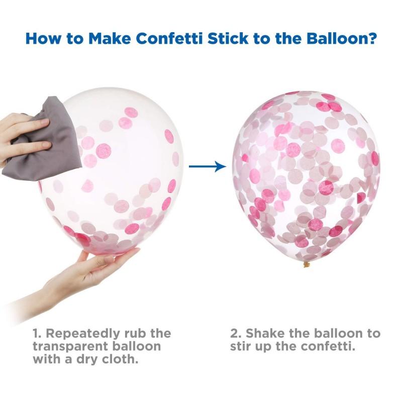 50 Pcs Pearl Latex Balloons 12 Inch Confetti Balloons Pink