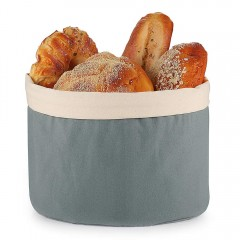 Ecooe Bread Basket with Lid and Drawstring Bread Bag Ø 25 cm Roll Basket 100% Cotton Bread Basket Does not Mix Blueish Gray Bread Bag Bread box