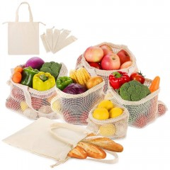 Ecooe 6er SET Fruit and vegetable bag with handle Design Shopping bags with bread bag made of cotton Reusable shopping nets Plastic free vegetable nets made of 1x S, 2x M, 2x L, 1x cloth bag