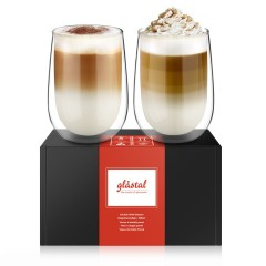 Glastal 2xDouble Walled Glasses Set 350ml for Latte Cappuccino