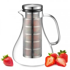ecooe Fruit glass carafe made of borosilicate glass jug with stainless steel lid and infuser 1500ml