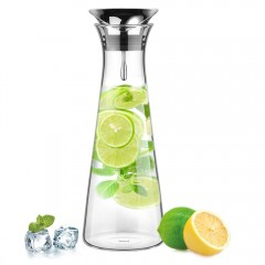 Glastal Glass Water Carafe 1 Litre Water Pitcher with Stainless Steel Lid Borosilicate Glass Iced Tea Pitcher