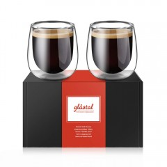 Glastal Double Wall Thermo Espresso Cups Glasses 120ml Set of 2