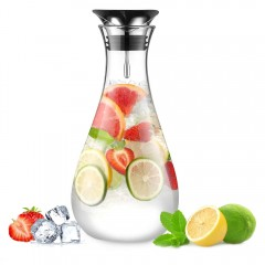Glastal Glass Water Carafe 1.8 Litre Water Pitcher with Stainless Steel Lid Borosilicate Glass Iced Tea Pitcher