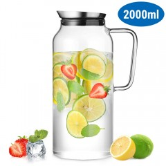 ecooe Glass Water Carafe 2 Litre Water Pitcher with Stainless Steel Lid Borosilicate Glass Iced Tea Pitcherinless Steel Lid Borosilicate Glass Iced Tea Pitcher