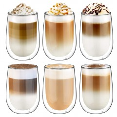 Glastal 6x350ml Double Wall Cappuccino Latte Macchiato Glasses Cups Coffee Tea Milk Juice Glass Cups