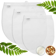 Ecooe Nut Milk Bag 3 Pack, Fine Mesh Nylon Filter for Almond Soy Milk Yogurt Cheese Food Strainer for Coffee Tea and More