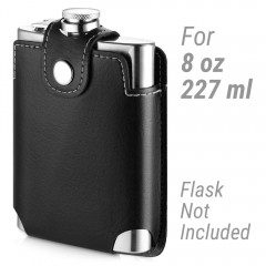 Ecooe 8oz Hip Flask Case Anti-Scratch PU Leather Cover Protective Sleeve Easy to Carry (Hip Flask Not Included)