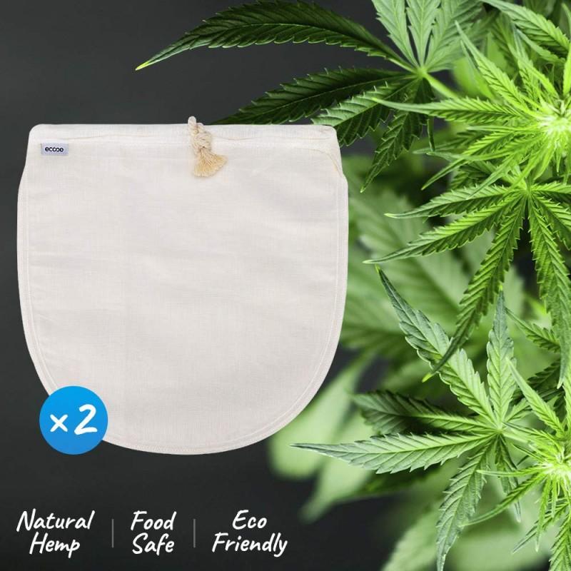 Ecooe Hemp Nut Milk Bag 2 Pack Fine Mesh Filter For