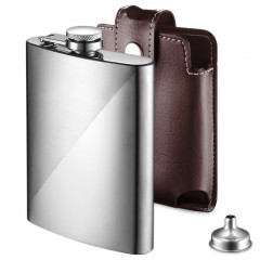 Ecooe Stainless Steel Hip Flask 227ml/8oz with Funnel and Brown Synthetic Leather Pouch, Alcohol Whiskey Flask