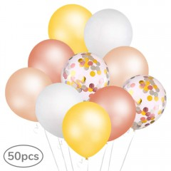 "50pcs Balloons Set, 12"" Inch Party Balloons including colorful Confetti Latex Balloons Rose Gold Champagne White and Gold Balloons for Birthday, Weddings, Baby Shower Party Decorations"