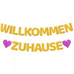 ecooe Willkommen Zuhause Glitter Banner für Familie Partei Dekoration Welcome Home Banner mit 12Stk Wimpeln und 3M Jute Seil