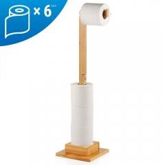 Ecooe Bamboo Freestanding Toilet Paper Holder Storage Roll holder Ideal for 5 toilet paper rolls Stand and organizer 2 in 1 Space saving Without drilling 72 cm