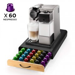 Ecooe Coffee Capsule Holder Stainless Capsule Rack for 60 Nespresso Capsules Dispenser with Non-Slip Surface Grid Drawer