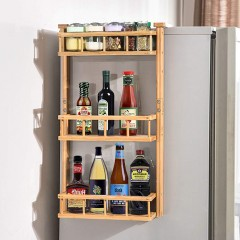 Ecooe Bamboo Spice Rack Hanging Shelf for Refrigerator with 3 Shelves Shelf Shelves Kitchen Shelf 68x44.5x22cm (Need Installation)