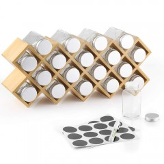 Ecooe Bamboo Spice Rack with 18 Spice Jars and Labels Jars Made of Aluminium for Kitchen Cupboard and Worktop