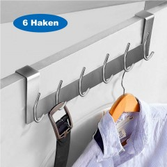 Ecooe Door Hanger Door Wardrobe Stainless Steel Coat Hook without Drilling with 6 Hooks Hook Rail for Door Rebate Thicknesses Up to 2cm