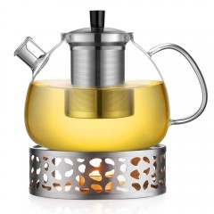 Ecooe 1.5L Teapot with Teapot Warmer, Glass Teapot with Stainless Steel Infuser, Stainless Steel Teapot Warmer