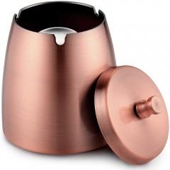 ecooe Windaschenbecher mit Deckel Edelstahl XL Aschenbecher Wind- und regensicher für Outdoor & Indoor Kupfer