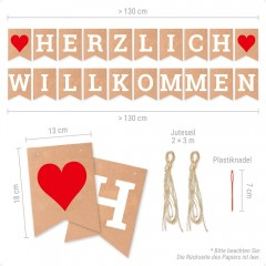 ecooe Herzlich Willkommen Girlande für Familie Partei Dekoration Warm Welcome Banner mit 3M Jute Seil*2