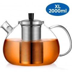 Ecooe 2000mL Teapot Glass Teapot with Stainless Steel Infuser