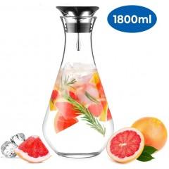 ecooe Glaskaraffe 1800ml (Volle Kapazitat) Glaskrug aus Wasserkrug mit Edelstahl Deckel Karaffe Glaskanne