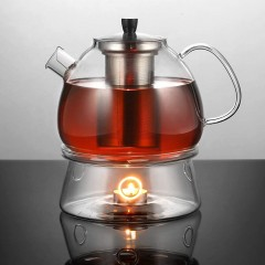 ecooe 1500ml Teekanne mit Stövchen Teebereiter Glas und Teewärmer Teekanne Set