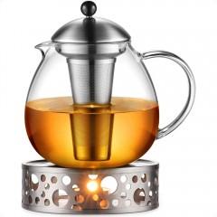 Glastal 1500ml Teekanne mit Stövchen Teebereiter Glas und Edelstahl Teewärmer Teekanne Set