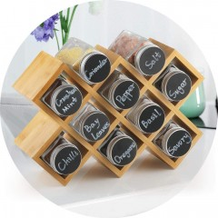 Ecooe Bamboo Spice Rack with 10 Spice Jars and Labels Jars Made of Aluminium for Kitchen Cupboard and Worktop