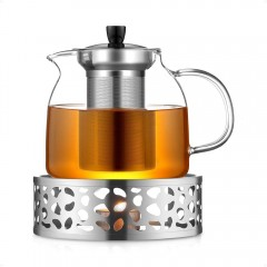 Ecooe 1000mL Teapot with Teapot Warmer, Glass Teapot with Stainless Steel Infuser, Stainless Steel Teapot Warmer
