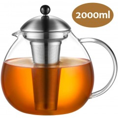 Glastal 2000ml Glass Teapot with Removable 18/10 Stainless Steel Infuser