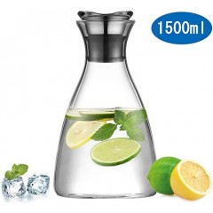 Ecooe Water Pitcher 1.5 Litre Glass Water Carafe with Petal Stainless Steel Lid Borosilicate Water Jug