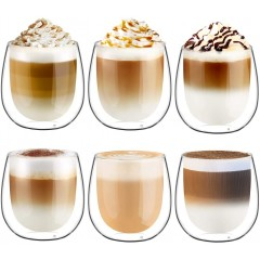 Glastal 6x250ml Double Walled Coffee Glasses Mugs Cappuccino Latte Macchiato Glasses Cups for Coffee Tea Milk Juice Ice Cream Borosilicate Heat Resistant Glass Cups