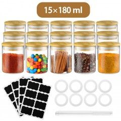 Glastal 15 Spice Jar 180ml Round Borosilicate Decorative Storage Spice Jars with Bamboo Lid 32 Black Labels 1 Pen 8 Replacement Seal Ring Glass Storage for Spices Ø6.7 * 8.8cm