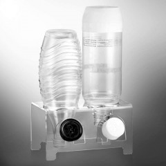 ecooe Abtropfhalter aus Acrylglas Abtropfständer für z.B. SodaStream und Emil Flaschen Platz für 2 Flaschen und 2 Deckel Spülmaschinenfest