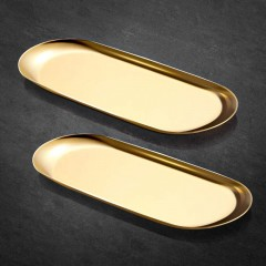ecooe Extra Big Golden Tray Stainless steel Storage Tray Cosmetics Jewelry Organizer - 2 Pack (30cm), Ornaments Plate for Candle Cake Drinks Watch