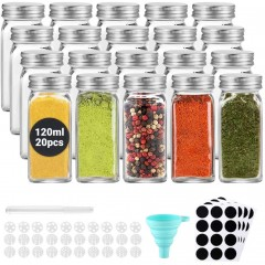 ecooe Spice Bottles 20x120ml Spice Jars with Airtight Screw Cap Square Spice Jars with 1 Funnel & Pen 48 Black Labels 10 Replacement Filters Glass Storage For Various Spices