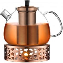 ecooe Original 1500ml Teekanne Glas Borosilikatglas Teebereiter mit 18.10 Edelstahl Stövchen Abnehmbare Sieb Rostfrei Hitzebeständig für schwarzen Tee grüner Tee Fruchttee duftender Tee und Teebeutel