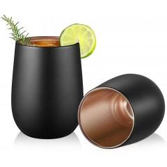 Glastal Doppelwandige Trinkgläser 350ml (Volle Kapazität) 2er Set Schwarz Matt Wassergläser Saftgläser Kaffeetassen mit Roségold Blinkende Innenwand