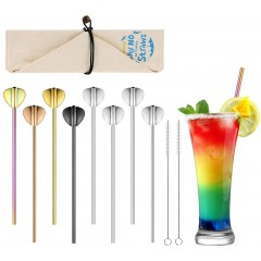 ecooe 8 Stainless Steel Straws with Spoon Reusable Drinking Straws BPA-Free Drinking Tubes Ø0.5 21.5cm with 2 Cleaning Brushes 1 Bag Dishwasher Safe Ideal for Cocktails Juice Long Drinks Milk Juice